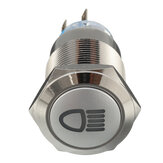 12V 19mm Metal Prata LED Botão ON ON OFF Símbolo da luz do interruptor de bloqueio