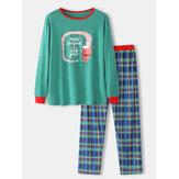 Erkek Karikatür Noel Baskı Gevşek Yuvarlak Boyun Ekose Pantolon Ev Pijama Takımı