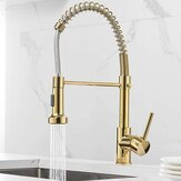 Luxury Gold Kitchen Sink Faucets Brass Single Lever Pull Out Spring Spout Mixers Tap Hot Cold Water Crane