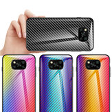 Bakeey for POCO X3 NFC Case Carbon Fiber Gradient Color Shockproof Anti-Scratch Tempered Glass Protective Case Non-original