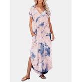 Tie Dye Print V-образный вырез с боковыми карманами и нерегулярным низом Maxi Платье