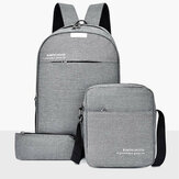 3PCS Men Women Backpack Travel School Shoulder Laptop Bag Rucksack Handbag Purse
