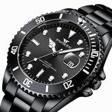 FNGEEN 8080 Fashion Business Puntatore luminoso Calendario Data Display Orologio al quarzo da uomo impermeabile con cinturino in acciaio