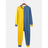 Macacão masculino com botão em patchwork de cor contrastante e decote redondo Casa pijama de uma peça confortável lounge
