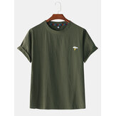 Mens Cotton Solid Color Little Cloud Embroidery Short Sleeve Casual T-Shirts