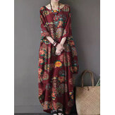 Women Vintage Floral Print Cotton Three Quarter Sleeve Loose Pocket Maxi Dresses