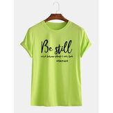 Mens Be Still Slogan Printed Casual Round Cuello Camisetas de manga corta transpirables
