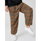 Mens Vintage Plaid Cotton Elastic Waist Drawstring Jogger Pants