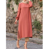 Women Solid Color Puff Sleeves Side Silt Elastic Cuffs O-Neck Casual Midi Dress
