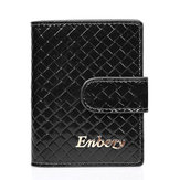 Genuine Leather RFID Hasp Card Holder Quilted Business Name Case Short Wallet