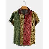 Cotton Mens Design Geometric Print Multicolor Patchwork Short Sleeve Casual Shirts