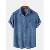 Banggood Designed Herren Casual Cord Light Breathable Pocket Kurzarm Shirts