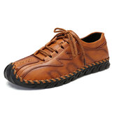 Men Genuine Leather Hand Stitching Soft Business Casual Oxfords