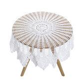 Blanc Vintage Crochet coton dentelle nappe ronde nappe couverture 90 cm Floral nappe maison maison fournitures