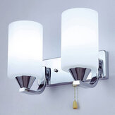 Bedroom Glass Wall Sconce Light Indoor Fixture Bedside Lamp+LED Bulb Pull Switch