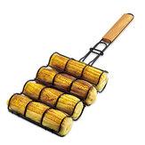 BOLEEFUN Antiaderente Cesta de Grelha de Milho Malha de Metal Alça de Milho Ajustável Rack de Rack para Ferramentas de Churrasco