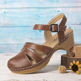 LOSTISY Women Hollow Closed Toe Solid Color Stitching Clogs Sandals