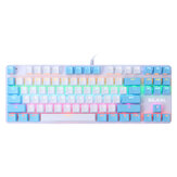 BAJEAL K100 Mechanical Keyboard Wired 87 Keys Rainbow Backlight Blue Swtich Hot Swappable Dual Color Design Gaming Keyboard With LED Lighting Effect for Gaming Typing Office
