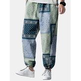 メンズエスニックスタイルプリントカラーブロック巾着デザインジョガーパンツ