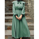 Dames Vintage Elegant Ruffle Puff Sleeve Elastische Taille Lace-Up Solid Maxi Jurk