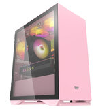 DarkFlash DLM22 Gaming Computer Case M-ATX/ITX USB 3.0 Supported Tempered Glass Door Opening Pink/Mint Green