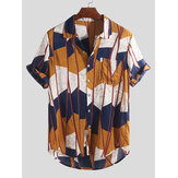 Mens Abstract Contrast Colorblock Chest Pocket Short Sleeve Casual Shirts