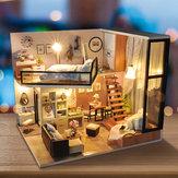 T-Yu TD16 Yoko Wei Meng DIY Кукольный домик со светлой крышкой Миниатюрная модельная коллекция подарков