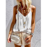 Women Solid Color V Neck Casual Sleeveless Tank Tops