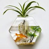 Montado na parede flor hexágono vaso de vidro planta jardim casa decoração de festa de casamento