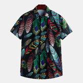Mens Summer Hawaiian Casual Fashion Leaf Drukarnie koszule