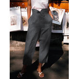 Women Solid Color High Waist Belted Side Pocket Casual Pants