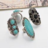 Bohemian Retro Blue Turquoise Ring