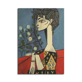 Cartaz de Picasso Jacqueline e Flores Poster de parede de papel Kraft Arte de parede de DIY 21 polegadas X 14 polegadas