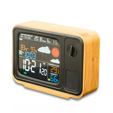 Digital USB Wifi Weather Forecast Station Desk Bamboo Alarm Clock Temperature Humidity APP Control