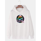 Mens Colorful Reflective Mushroom Print Relaxed Fit Pullover Hoodie