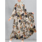 Women Cotton Floral Print Flare Sleeve Bandage Kaftan Loose Tunic Maxi Dress
