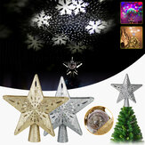 3D Glitter Star Christmas Tree Topper LED Rotating Snowflake/RGB Projector Light