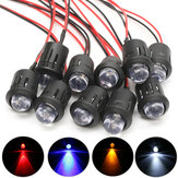 10Pcs 12V 10mm Ultra Bright Pre-wired Constant LEDs Water Clear LED