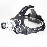 XANES® 3 LED T6 + 2 * Q5 Lampe frontale LED 4 modes Phare de cyclisme Lanterne extérieure Lampe de poche rechargeable USB pour la pêche