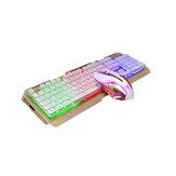 Parlayan 104 Tuşlar Klavye ve Mouse Set V1 Kablolu RGB Mekanik Feeling Klavye 2400DPI Mouse Oyun Ofisi Notebook için Combo Set