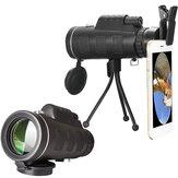 40X60 al aire libre Telescopio óptico Lente con clip para teléfono móvil universal + trípode