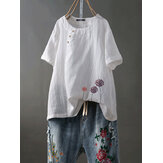 Short Sleeve O-neck Floral Embroidery Vintage Blouse