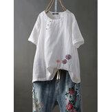 Kortærmet O-hals Floral Embroidery Vintage Blouse