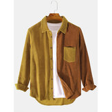 Banggood Design Corduroy Patchwork Turn Down Collar Chest Pocket Long Sleeve Shirts
