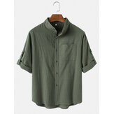 Mens Flax Light Casual Stand Collar Elbow Sleeves Shirt With Sleeve Tabs