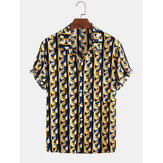 Mens Cotton Abstract 3D Impressão geométrica Casual Short Sleeve Camisa