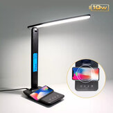 Bakeey 10W QI Wireless Charging LED Desk Lamp With Calendar Temperature Alarm Clock Eye Protect Reading Light Table Lamp Charging Pad For iPhone 12 12Pro Max