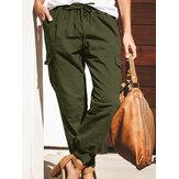 Frauen einfarbige Baumwolltaschen Overalls Hosenhose