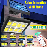 120/128/150/160LEDs COB Solar Light Outdoor PIR Motion Sensor Wall Lamp Floodlight With/Without Remote Control