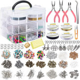 1171Pcs Jewelry Making Tools Beads DIY Bracelet Earring Accessories w/ 3 Layers Jewelry Box